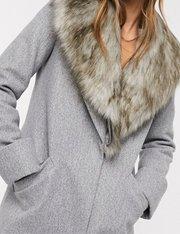 Abrigo de sastre gris con cuello de piel sintética mujer
