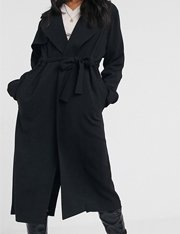 Abrigo largo en cascada en negro mujer