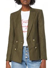 Blazer en sarga suave de espiga color verde para mujer