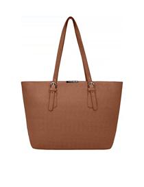Bolso marrón de cuero sintético para mujer