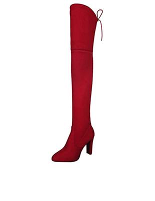 Botas altas de tacón color rojo vivo de ante y nobuck para mujer