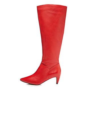Botas altas rojas tacón puntiagudo de mujer
