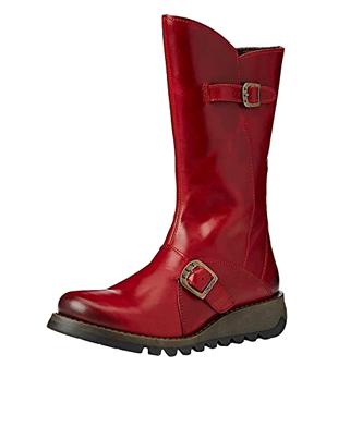 Botas de cuero rojas suela de caucho plana de mujer