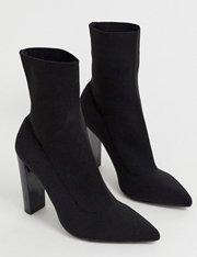 Botas estilo calcetín con tacón grueso y punto negro mujer