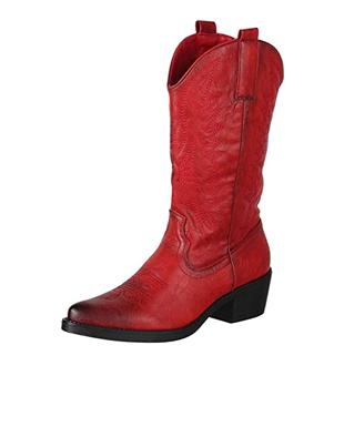 Botas rojas estilo vaquero para mujer
