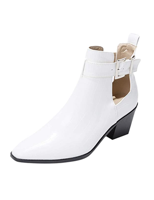 Botines blancos de mujer en piel auténtica tacón alto