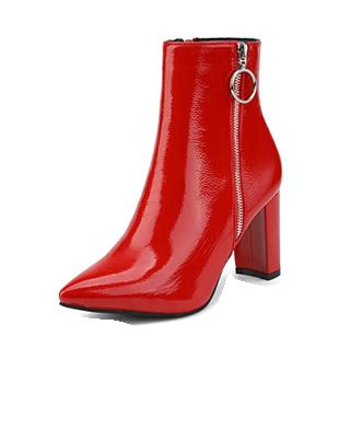 Botines de mujer efecto charol rojo con cremallera