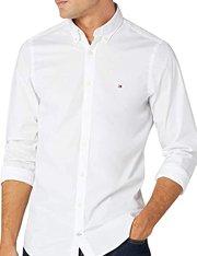 Camisa blanca de algodón Tommy Hilfiger slim poplin para hombre