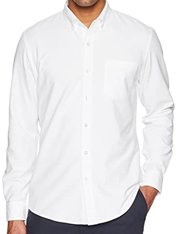 Camisa blanca manga larga regular-fit de hombre