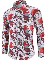 Camisa con estampado geométrico casual para hombre