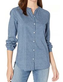 Camisa de algodón básica estampada mangas abullonadas mujer