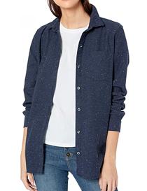 Camisa de algodón espalda plisada y dobladillo redondeado mujer