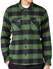 Camisa de cuadros Dickies streetwear para hombre color verde
