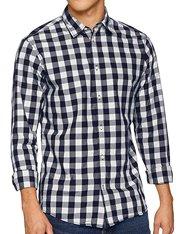 Camisa de cuadros azul y blanca para hombre