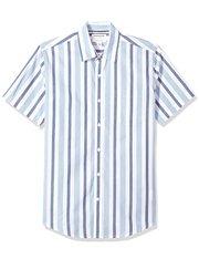 Camisa de manga corta blanca y azul para hombre