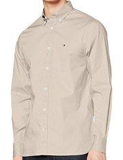 Camisa de manga larga color beige piedra para hombre