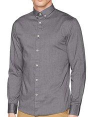Camisa de manga larga color gris piedra para hombre