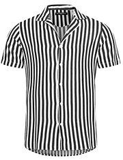 Camisa de mangas cortas a rayas blanca y negra para hombre