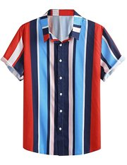 Camisa de mangas cortas a rayas verticales para hombre