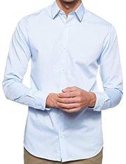 Camisa de vestir de corte slim fácil de planchar en azul claro para hombre