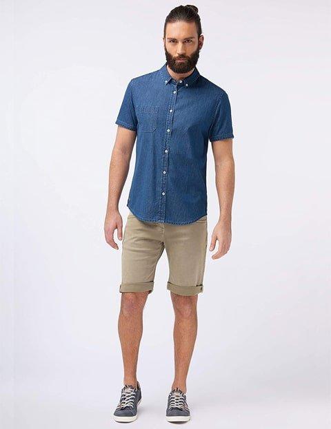 Camisa denim de manga corta hombres