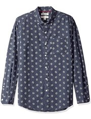Camisa estampada azul de manga larga para hombre