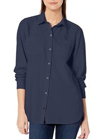 Camisa ligera de sarga azul manga larga de mujer