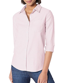Camisa oxford de manga larga corte clásico de mujer