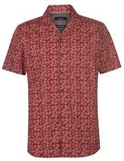 Camisa roja manga corta con estampado geométrico para hombre