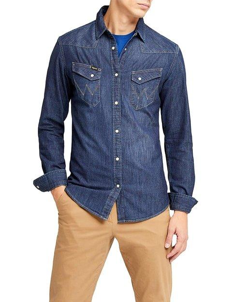 Camisa vaquera azul hombre