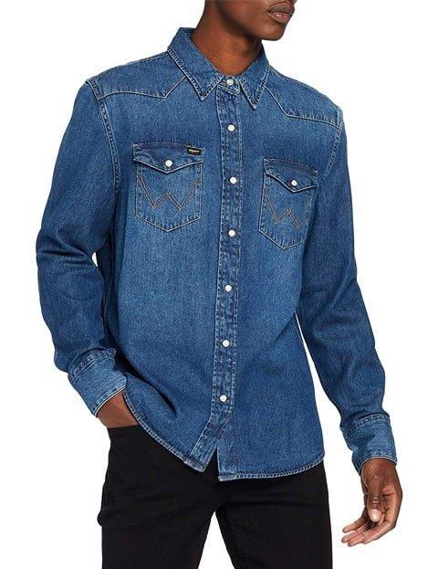 Camisa vaquera de hombre azul oscuro