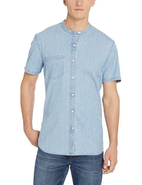 Camisa vaquera de mangas cortas para hombre