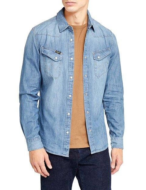 Camisa vaquera hombre azul claro