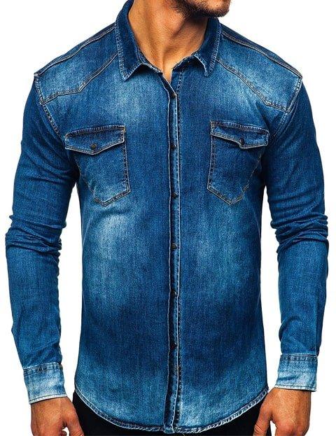 Camisa vaquera hombre slim fit azul