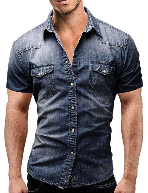 Camisa vaquera hombre slim fit manga corta
