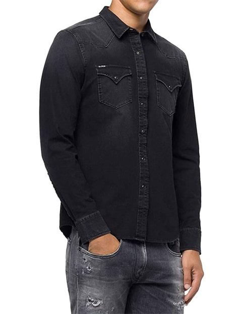 Camisa vaquera negra de hombre