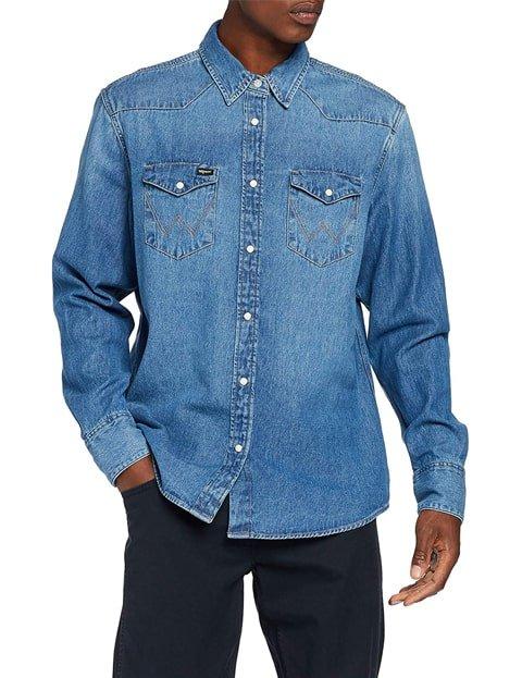 Camisa vaquera para hombre azul claro