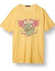 Camiseta amarilla con dibujo manga corta Replay de hombre