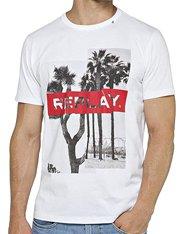 Camiseta blanca de mangas cortas con dibujo Replay de hombre