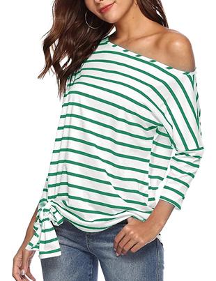Camiseta de hombros al aire de rayas verdes horizontales blanca para mujer