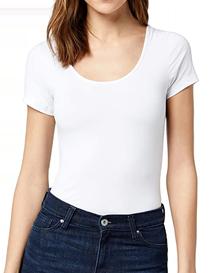 Camiseta de mujer en algodón escote redonto abierto