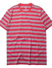 Camiseta manga corta de rayas rojas y grises para hombre