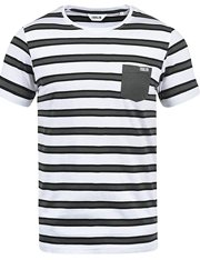 Camiseta mangas cortas negra y blanca de rayas para hombre