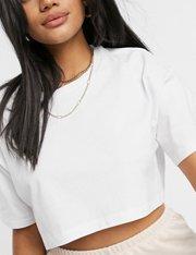 Camiseta súper corta en blanco mujer