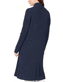 Cárdigan de mujer en punto azul marino manga larga