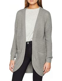 Cárdigan de mujer en punto color gris manga larga