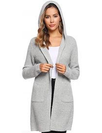 Cárdigan de punto gris con capucha para mujer