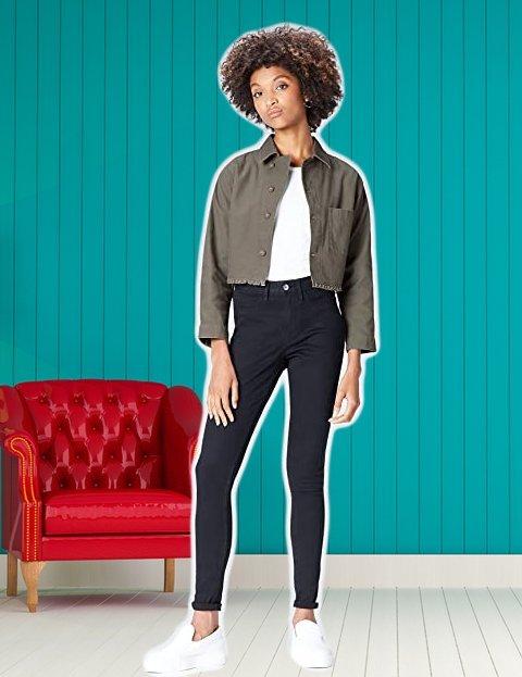 Casual outfit mujer chaqueta de corte retro encima de la cadera