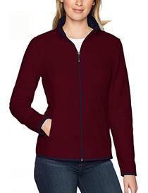Chaqueta de forro polar fino roja con cremallera estilo casual para mujer