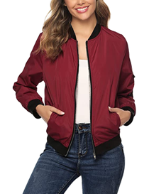 Chaqueta de mujer estilo bomber color rojo con cremallera